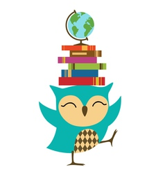 Owl with stack of books vector image vector image