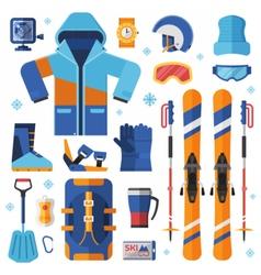 Skiing Equipment Set vector image vector image