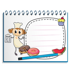 A notebook with a sketch of a chef vector image vector image