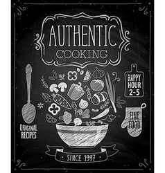 Authentic cooking poster vector image vector image