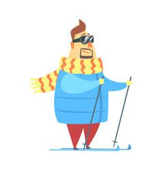 millionaire rich man on ski in mountain resort vector image