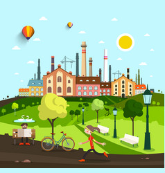 town city with old factory and houses people in vector image