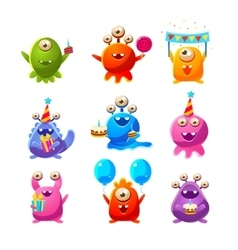 Toy Aliens With Birthday Party Objects vector image vector image