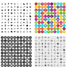 100 champion icons set variant vector