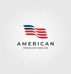 american flag logo minimalist symbol design vector image