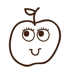 Apple fruit character cute icon vector