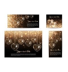 Banners with hearts of different sizes vector