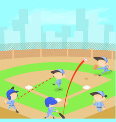 Baseball concept cartoon style vector