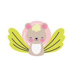 bashower cute little bear flower leaves vector image