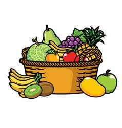 basket full of fruits vector image