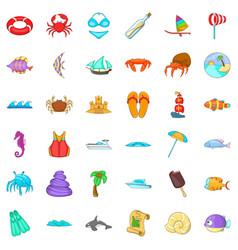 Beach vacantion icons set cartoon style vector
