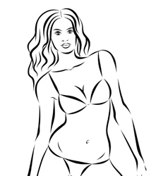 Beautiful fashion woman with bikini on background vector