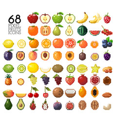 big collection of pixel fruits berries and nuts vector image