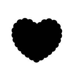 black silhouette of wavy heart isolated on white vector image