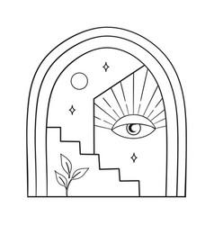 Bohemian modern arch logo design moon stars vector