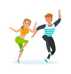 Boy and girl modern popular hip-hop dance vector