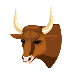 Bull head realistic icon profile view on brown vector