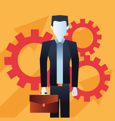businessman with briefcase gears team vector image