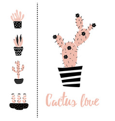 cactus love vector image