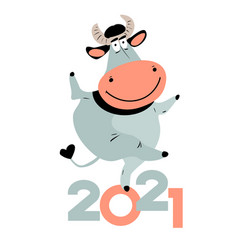 cartoon funny bull postcard symbol new year 2021 vector image