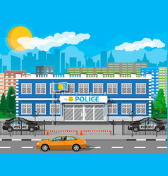 City police station biulding car tree cityscape vector