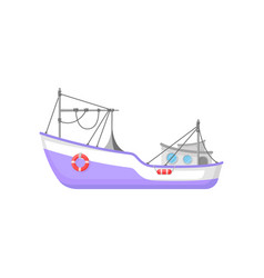 commercial fishing boat with trawling gear and vector image