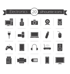 Consumer electronics black silhouette icons set vector