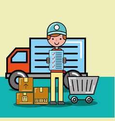 courier man checklist cart and parcels delivery vector image