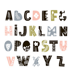 creative decorative alphabet with floral elements vector image