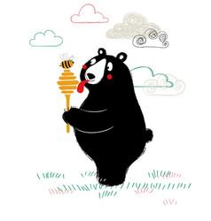 Cute bear holding honey dipper vector