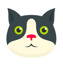 cute cat face icon flat style vector image