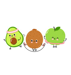 Cute funny fruits make gym set collection vector