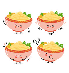 Cute funny traditional hummus bowl character vector