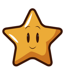 Cute kawaii star face emoticon character vector
