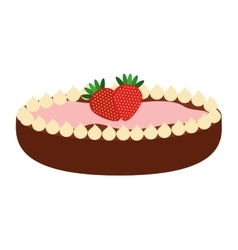 Delicious pie with strawberries isolated icon vector