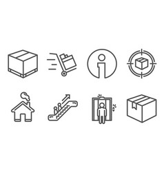 Delivery box elevator and parcel tracking icons vector