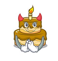 Devil birthday cake mascot cartoon vector