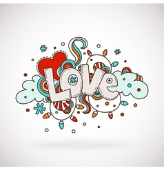 Doodle word LOVE with snowflakes light bulbs clo vector