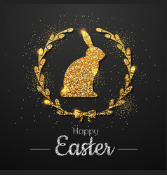 easter golden typography greeting card vector image