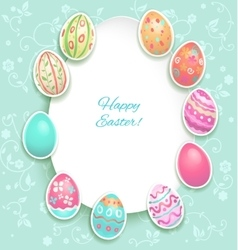 Easter holiday card with eggs vector image