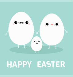 Egg family with lips mustaches happy easter love vector