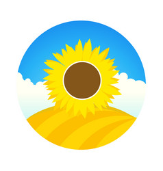 farm field with sunflower - emblem round vector image