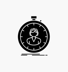 Fast speed stopwatch timer girl glyph icon vector
