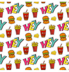 Fastfood seamless pattern bright cartoon vector