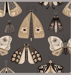 Folk art seamless pattern with moths vector