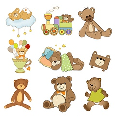 funny teddy bears set isolated on white background vector image