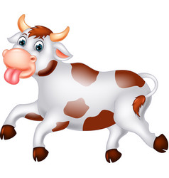 funny white brown cow cartoon vector image