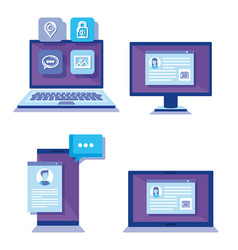 group of devices electronics and social media vector image