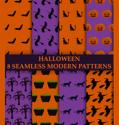 Halloween party 8 seamless modern patterns vector