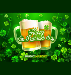 happy st patricks day card with beer lucky clover vector image